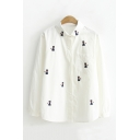 Girl's Lovely Cat Embroidery Lapel Collar Long Sleeve Button Down Shirt with One Pocket