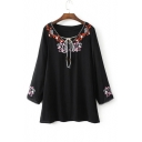 New Fashion V-Neck Long Sleeve Slit Cuff Floral Embroidery Swing Mini Dress