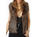 Women's Spring Fashion Fur Collar Sleeveless Striped Print Open Front Vest Coat