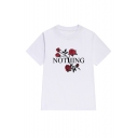 Casual NOTHING Floral Printed Short Sleeve Round Neck Tee