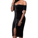 Women's Sexy Off the Shoulder Short Sleeve Zipper Placket Cutout Hem Plain Midi Dress