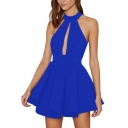 Sexy Halter Cutout Front Hollow Mesh Back Sleeveless Plain Mini Party Dress