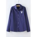 Lovely Rabbit Embroidered Pocket Lapel Collar Long Sleeve Basic Shirt