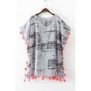 New Style Batwing Short Sleeve Tassel Trim Round Neck Printed Color Block Tunic Blouse