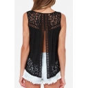 Summer's Lace Patched Crochet Round Neck Short Sleeve Hollow Out Back Tank Top