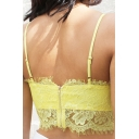 Sexy Zip-Back Lace Crochet Spaghetti Straps Plain Cami Tank Top