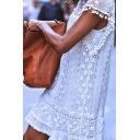 Women's Round Neck Short Sleeve Pom Pom Hem Lace Patched Shift Mini Dress
