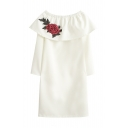 Women's Boat Neck Long Sleeve Floral Embroidered Pencil Mini Dress