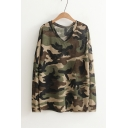 Fashion V-Neck Long Sleeve Camouflage Pattern Casual Loose Knit Pullover Sweater