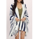 Fashion Open-Front Tassel Striped Color Block Cape Coat