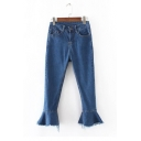 New Arrival Bell Ripped Cuffs Mid Waist Plain Basic Jeans