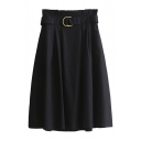 New Arrival Metal Ring Belted Waist Plain Casual Flare A-Line Skirt