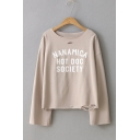 Simple Letter Printed Cutout Round Neck Long Sleeve T-Shirt
