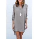 Women's High Low Hem Long Sleeve V-Neck Plain T-Shirt Dress