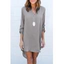 Women's High Low Hem Long Sleeve V-Neck Plain T-Shirt Dress