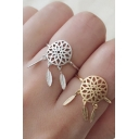 New fashion Hollow Out Floral Feather Pattern Opening Ring