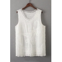 Lace Patchwork Hem Hollow Out Round Neck Sleeveless Floral Pattern Plain Tee