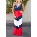 New Style Round Neck Short Sleeve Color Block Striped Print Maxi Tank Dress