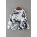 Color Block Round Neck Long Sleeve Printed T-Shirt