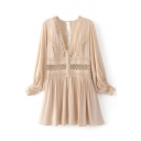 Women's Plunge Neck Long Sleeve Lantern Sleeve Hollow Patched A-Line Mini Dress