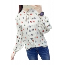 Women's Lapel Collar Long Sleeve Bow Tie Up Insect Pattern Buttons Down Chiffon Shirt