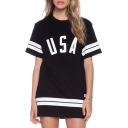 Simple Striped USA Letter Printed Short Sleeve Round Neck Mini T-Shirt Dress
