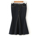 New Fashion Contrast Stitching Raw Edge Fishtail Denim Skirt