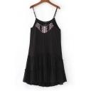 Tribal Embroidery Spaghetti Straps A-Line Sashes Mini Dress