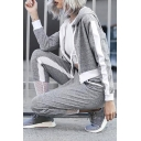 Hooded Zip Placket Long Sleeve Casual Top Striped Side Gauze Patched Pants Sports Co-ords