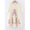 New Fashion Round Neck Short Sleeve Lace Patched Floral Embroidery Mini Swing Dress