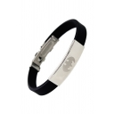 Fashion Bat Pattern Silicone Titanium Steel Patchwork Bracelet