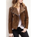 Chic Lapel Zipper Placket Long Sleeve Plain PU Jacket with Zip-Pockets