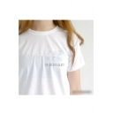 New Arrival Letter Print Round Neck Short Sleeve Cotton Pullover T-Shirt