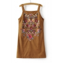 Tribal Embroidered Sleeveless Zip Back Mini Suede Overall Dress