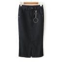 New Stylish Plain Split Front Midi Bodycon Denim Skirt Embellished with Metallic Ring