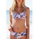Fashion Floral Printed Color Block Spaghetti Straps Push Up Bikinis
