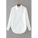 Lapel Single Breasted Long Sleeve Arced Hem Plain Shirt with One Pocket