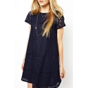 Elegant Short Sleeve Lace Crochet Plain Mini Swing Dress
