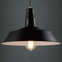 Industrial Barn Style Single LED Pendant in Black, 14