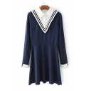 Women's Fashion Fake Two-Piece Patchwork Lapel Collar Long Sleeve A-Line Mini Dress