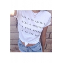Letter Printed Short Sleeve Round Neck Tee Top