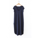 Women's High Low Hem Short Sleeve V-Neck Plain Tunic T-Shirt Dress