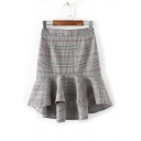 New Arrival Color Block Plaid Pattern Ruffle Trim Bodycon Mini Skirt