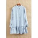 Stand-Up Collar Long Sleeve Striped Print Buttons Down Basic Mini Shirt Dress