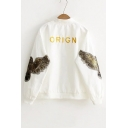 Eagle Appliqued in Sleeve Embroidery ORIGN Letter Stand-Up Collar Zipper Placket Coat