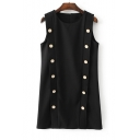 Round Neck Sleeveless Double Breasted Plain Shift Mini Dress