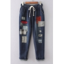 Drawstring Elastic Waist Ripped Color Block Patched Capri Denim Pants