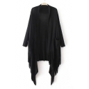 Asymmetric Tassel Patchwork Hem Open Front Plain Cardigan with Two Pockets