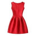 Elegant Retro Stylish Sleeveless Round Neck Zip-Back Plain Mini Swing Dress