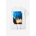 ROCKET LAUNCH Photo Printed Short Sleeve Casual Tee